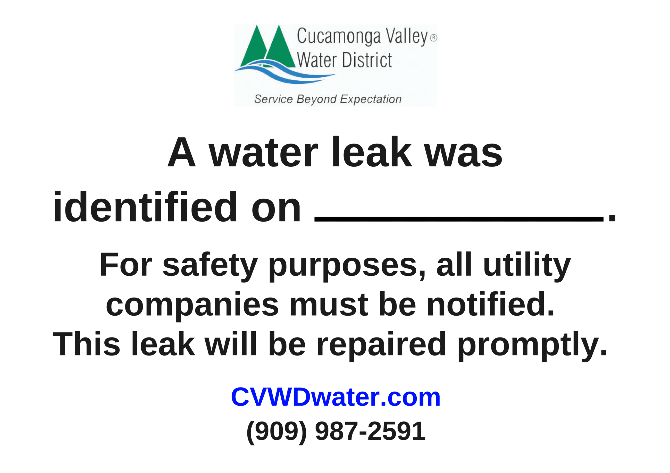 NEW Water Leak Sign